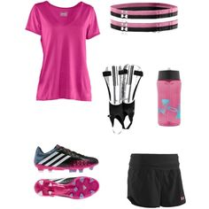 """""""Soccer outfit!:)"""" by sadiehansen12 on Polyvore. I sure wish my girl could wear pink soccer clothes!"""
