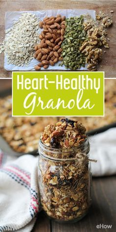 Heart-healthy granola breakfast! This simple recipe is perfect for those who follow a gluten-free diet, looking to add plant-based protein to their diet, and those looking to boost their intake of unsaturated fat. http://www.ehow.com/how_2117916_make-hearthealthy-granola.html?utm_source=pinterest.com&utm_medium=referral&utm_content=freestyle&utm_campaign=fanpage