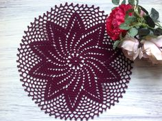 Burgundy Crochet Napkin Crochet Doily Handcrafted Home Decor Lace doily. Lace Doilies, Crochet Doilies, Crochet Lace, Jw Gifts, Scarf Patterns, Light Beige, Dream Catcher, Christmas Wreaths, Napkins