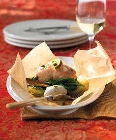 Lachs-Päckchen mit Kartoffeln und Spinat