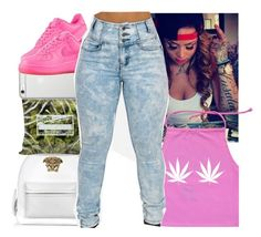 """""""Haapy Weed Dayy"""" by prettygurl21 ❤ liked on Polyvore featuring NIKE, Versace and Native Union"""