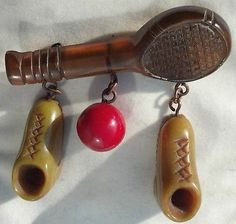 RARE Vintage Carved Bakelite Tennis Brooch Pin Collector Gift | eBay