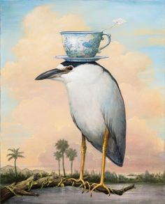 The Gentleman, Kevin Sloan Illustrator, Nature Artists, Magic Realism, Whimsical Art, Surreal Art, Animal Paintings, Bird Art, Love Art, Collage Art