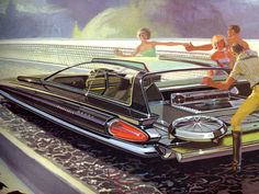 """Syd Mead concept design for US Steel    space age concept cars for US Steel by illustrator / industrial designer Syd Mead. Taken from the promotional book entitled"""" Concepts"""" published in 1961."""