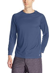 Teal Cove Mens Long Sleeve Swim Tee with 20 UPF Protection Navy Medium * Click the swimwear to find out more