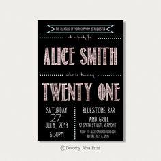 Custom 21st Birthday Invitation by DorothyAlvaPrint on Etsy, $12.00