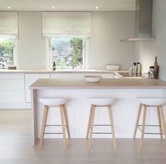 I simply adore this Norwegian home's breakfast bar, modern white kitchen with light wood worktop and flooring and living space. Very Scandi chic with white walls, minimalist style and white stools perfect interior inspiration for kitchen ideas Ikea Kitchen Design, Home Decor Kitchen, Interior Design Kitchen, Kitchen Furniture, New Kitchen, Home Kitchens, Kitchen Ideas, Kitchen Modern, Ikea Furniture