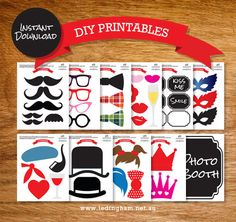 INSTANT DOWNLOAD - Photo booth Printable Props - Lips, Moustache, Glasses, Hat, Masks on Etsy, $7.19 CAD