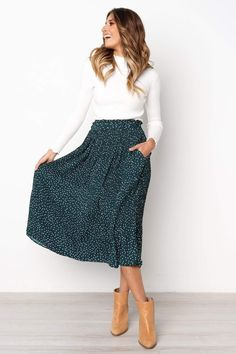 Green Polka Dot Midi Skirt – Jassie Line Green Polka Dot . Green Polka Dot Midi Skirt – Jassie Line Green Polka Dot Midi Skirt – Jassie Line Work Fashion, Modest Fashion, Fashion Models, Fashion Outfits, Modest Clothing, Clothing Ideas, Modest Apparel, Green Fashion, Fashion Design