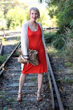 A fashion blog for women over 40 and mature women  Dress: Zara Cardigan: Zadig+Voltaire Sandals: Ugg Australia Bag: Chloé