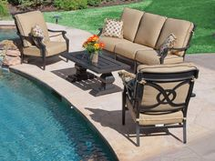Wonderful Royal Terrace Excelsior Cast Aluminum 4 Pc. Sofa Group Is A Transitional  Grouping With Elegant · Cast Aluminum Patio FurnitureOutdoor ...