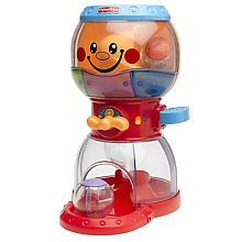 This toy is awesome and I will keep it forever. You press the lever and the ball swirls down the spiral while lights and music play. (The lights and music can be turned off too!)  The perfect little toy for babies.