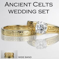 Ancient Celts Diamond Engagement Ring, Narrow and Wide Wedding Bands - 14K yellow gold