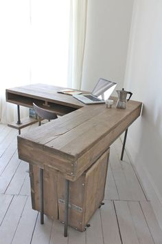 Reclaimed Scaffolding Board Industrial Chic Corner L-Shaped Desk with Built In Storage and Steel Legs - Matching Filing Cabinet Optional Ask a Question (De Inspirit) Pipe Furniture, Home Office Furniture, Furniture Design, Corner Furniture, Bureau Design, Scaffold Boards, L Shaped Desk, Wooden Desk, Built In Storage