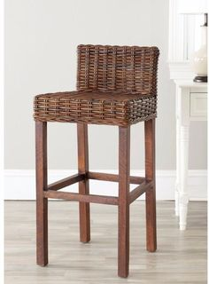 Crafted with Sturdy Mango Wood Croco Rattan Seat and Back Bar Stool 29.5 Inches#BarStool #Crafted #Sturdy #MangoWood #CrocoRattan #Seat #Stools #Furniture #BarStool #Kitchen #Dining #Home #HomeDecor #29.5Inch