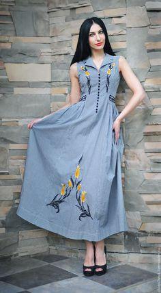 """Купить Вышитое летнее платье со шляпой """"Желтые тюльпаны"""" - черный, рисунок, вышитое платье"""
