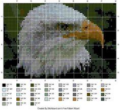 pinterest cross stitch eagle patterns free | This last eagle cross stitch pattern is that of one in flight, the ...