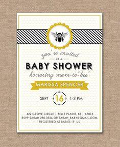 PRINTABLE BABY SHOWER Invitation - Baby Shower Bee Theme  via Etsy.