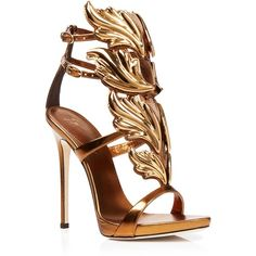 Giuseppe Zanotti Open Toe Platform Evening Sandals - Coline High Heel (1832735 IQD) ❤ liked on Polyvore featuring shoes, sandals, shooting bronzo, platform sandals, leather sole sandals, leather sandals, high heel shoes and metallic platform sandals
