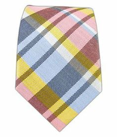 """Pink, Yellow and Sky Blue Linen Avenue Plaid 2 1/2"""" Skinny Tie TheTieBar"""