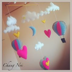Nursery Crib Mobile  Heart Air Balloons with Pink by ChangNoii, $95.00