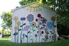 Mural Shed Mural flower painting Garden Fence Art, Garden Mural, Garden Yard Ideas, Diy Garden, Backyard Fences, Garden Projects, Backyard Landscaping, Mural Painting, Mural Art