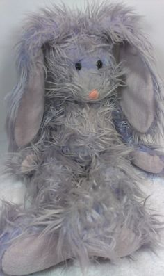 Russ Berrie FUZZY WUZZY Purple Bunny Rabbit Heavy Beanie Stuffed Animal Plush  #RussBerrie