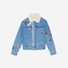 Sandro long-sleeved denim jacket with shirt-style collar. P… - E-Boutique Sandro Sandro, Blazer, Denim, Jackets, Clothes, Women, Stitch, Fashion, Winter