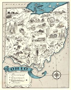 Antique Animated Ohio State Map Blue Cartoon Map of Ohio Wall Art Housewarming Gift for Anniversary Wedding Birthday 10508 by plaindealing on Etsy Antique Maps, Vintage Maps, Vintage Wall Art, Ohio Map, State Map, Ohio State Pictures, Sketches Of People, Antique Pictures, Animated Cartoons