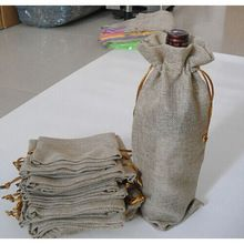 "Jute Wine Bottle Bags 15cmx37cm (6"" x 14.5"") champagne Bottle Covers Linen Gift Pouches Burlap Hessian Packaging Bag(China (Mainland))"