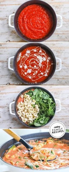 This SOUP is on REPEAT! Tuscan Tomato Tortellini Soup is so good and SO EASY! Made as a one pot recipe, you can pile it in and in as little as 20 minutes it will cook to perfection. Easy and filling, this easy soup recipe is packed with crushed tomatoes, spinach, garlic, and frozen cheese tortellini for the perfect meat free meal! If you love tomato soup, you HAVE to try this easy dinner idea! Quick Soup Recipes, Tomato Soup Recipes, Chowder Recipes, Fun Easy Recipes, Spinach Recipes, Chili Recipes, Crockpot Recipes, Chicken Recipes, Budget Recipes