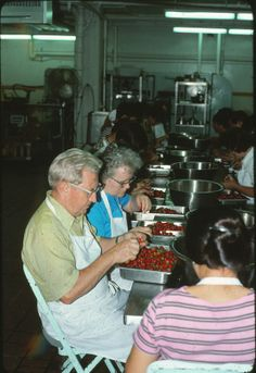 Watchtower Farms cannery - dad and mom cleaning strawberries (Roger Johnson)