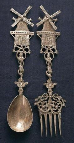 Origin:  	Netherlands  Year:  	1895 - 1905    A Dutch silver fork and spoon with windmill on handle, circa 1900.