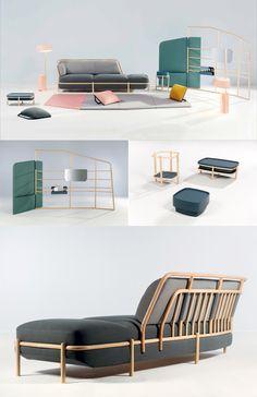"""INSULAIRE // Diseño: Numéro 111// Colección que es parte del Programa de Equipamiento de VIA en Maison & Objet 2014. La idea fue concebir la sala de estar como una isla, un """"espacio dentro del espacio"""" donde los muebles juega un papel estructurante que crea diversas experiencias de comodidad y uso. http://numero111.com/"""
