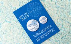 Modern Wedding Save the Date Magnet, Dandelion, Royal Blue, Simple Wedding, Elegant Card, STD Card, Colorful Invitation, Bold Stationery
