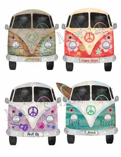 Hippie Bus Graphics Clipart PNG files printable by MarysMontage Hippie Party, Applique, Potholder Patterns, Happy Hippie, Bullet Journal, Beach Crafts, Christmas Paintings, Mug Rugs, Doodle Drawings