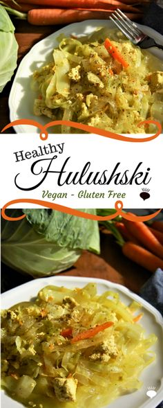 Vegan Healthy Hulushski is a traditional Polish cabbage and noodle dish with a healthy twist. Vegan, gluten free, soy free option. thehiddenveggies.com