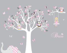 Artículos similares a Apartamento venta-todos pedidos nave 15 de Aug!!!! Vivero - árbol de flor de la flor - la etiqueta bebé árbol pared calcomanías cerezo árbol etiqueta de la pared en Etsy