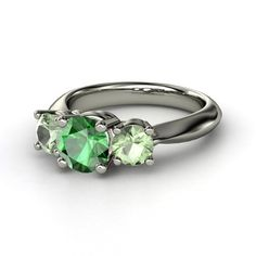 [Ring] Round Emerald Palladium Ring with Green Amethyst - Rosemary Ring | Gemvara
