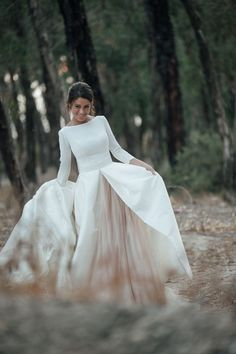 Discount 2017 White And Champagne Wedding Dresses A Line Bateau Neck Backless Country Bridal Gowns With Sleeves Chapel Train Custom Simple Wedding Gowns, Long Sleeve Wedding, Modest Wedding Dresses, Bridal Dresses, Dress Wedding, Simple Wedding Dress Sleeves, Winter Wedding Dresses, Cold Wedding, Wedding White