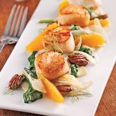 Pétoncles aux pacanes caramélisées, oranges et fenouil - Recettes - Cuisine et…