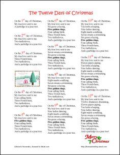12 days of christmas christmas lyrics xmas songs christmas wishes christmas parties - Twelve Days Of Christmas Lyrics