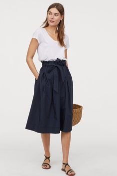cd7756682c9 Navy Blue Calf Length Skirt Bow Waist A-Line Spring Skirts, Spring Outfits,