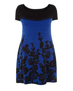 Samya -  Robe bleu pâle à imprimé floral et bordure en dentelle | New Look