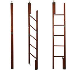 Fine English Regency Antique Mahogany & Brass Folding Nautical or Library Ladder