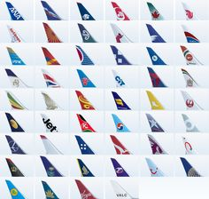 Logos and tail designs of airline companies.