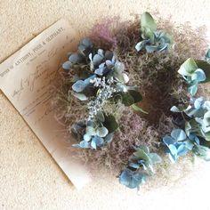 スモークツリーと紫陽花のwreathe | ハンドメイド、手作り作品の通販 minne(ミンネ)