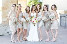 Dallas wedding photographer, Mary Fields Photography, lace capped sleeve wedding dress, gold knee length bridesmaid dresses, white baby's breath bridesmaid bouquets