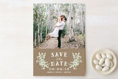 """""""Ampersand Floral"""" - Floral & Botanical, Rustic Save The Date Cards in Mint by Alethea and Ruth."""