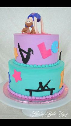Gymnastic Cake - fun idea for a gymnastic birthday party. Gymnastics Birthday Cakes, My Birthday Cake, 6th Birthday Parties, 10th Birthday, Girl Birthday, Birthday Ideas, Gym Cake, Themed Cakes, Party Cakes